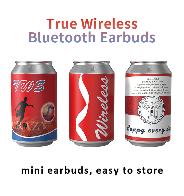 Zip-Top can  TWS Bluetooth Earbuds