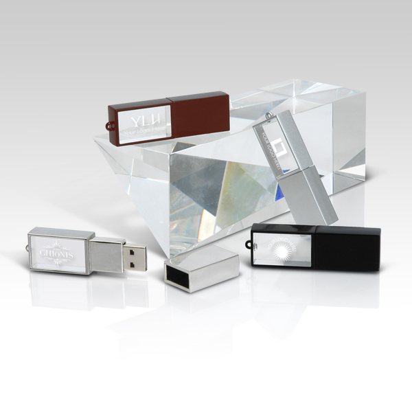 Crystal USB with LED light, Logo inscribed